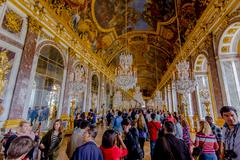 Impressive and beautiful Hall of Mirrors, Versailles Palace, France - stock photo
