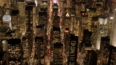 aerial establishment shot of new york city skyline. business buildings district - stock footage