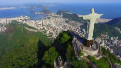 Aerial View of Christ the Redeemer and Sugarloaf in Rio de Janeiro, Brazil Stock Footage