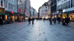 Time Lapse of Busy European Shopping Plaza - Evening - Copenhagen Denmark Stock Footage