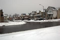 road after snow fall - stock photo