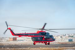 A modified for Arctic Mi-8 trasport helicopter - stock photo