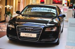 Audi A8 exhibited in Moscow. Stock Photos