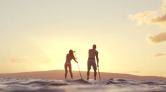 Slow Motion Couple Stand Up Paddle Boarding At Sunset Stock Footage