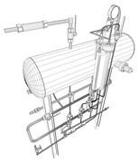 Picture of heat exchanger on white - stock illustration