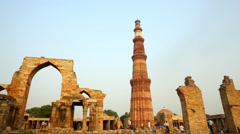 Delhi Qutub Minar Day Night View Timelapse Stock Footage