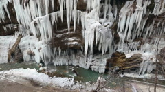 Frozen water falls in the mountains of the Caucasus Stock Footage