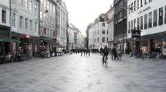 Time Lapse of Busy European Shopping Plaza - Evening - Copenhagen Denmark Stock Footage