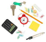 Stationery with alarm clock and keys Stock Photos