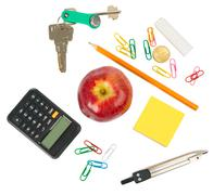 Stationery with fresh apple and keys - stock photo