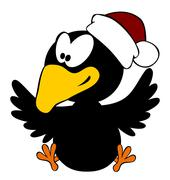 Happy crow wearing christmas cap isolated on white Stock Illustration