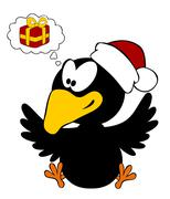 Happy crow wearing christmas cap with thinking bubble - stock illustration