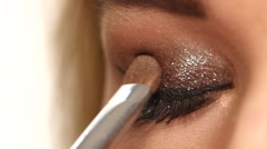 Stock Video Footage of Perfect makeup. Beauty fashion. Eyelashes. Cosmetic Eyeshadow. close up. Slow