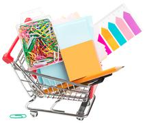 Shopping cart with stationary Stock Photos
