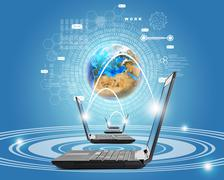 Laptops with earth globe Stock Illustration
