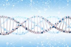 DNA molecule on blue Stock Illustration