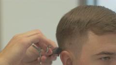 Barbershop. Hairdressing of man Stock Footage