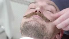 Service. Barbershop. Twists mustache Stock Footage