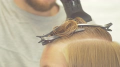 Drying the head in the barbershop Stock Footage