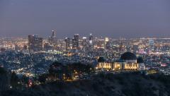 Downtown Los Angeles and Griffith Park Dusk to Night Time Lapse Stock Footage