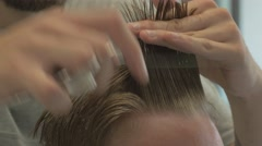 Bang cut in a barbershop/4k/close up Stock Footage