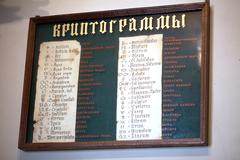 List cryptograms on the wall - stock photo