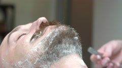 Shaving moustache. Barbershop service. Stock Footage
