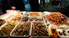 insects as a delicacy food in BKK city in Thailand - stock footage