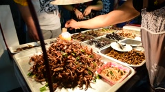 insects as a delicacy food in thailand - stock footage