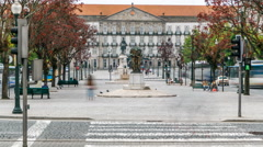 The Liberty Square in the historic centre of Porto timelapse Stock Footage