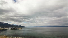 A time-lapse overlooking a bay in Ushuaia, Argentina Stock Footage