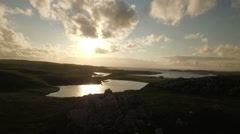 Stunning aerial shot on the Isle of Harris, flying along the coastline at Uig Stock Footage