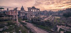 Rome, Italy: The Roman Forum in sunrise Stock Photos