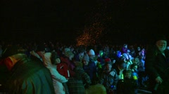 Winter night, audience winter bonfire in background Stock Footage