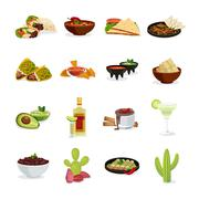 Mexican Food Flat Icons Set Piirros