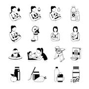 Baby Feeding Black Icons Set - stock illustration