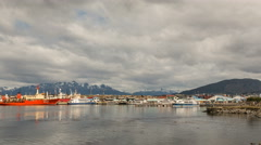 A cloudy time-lapse of the bay in Ushuaia, Argentina - stock footage