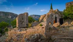 Ruins of Old Bar medieval fortress - stock photo