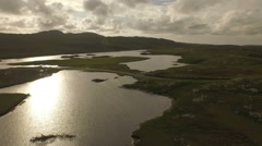 Stunning aerial shot on the Isle of Harris, flying along the coastline Stock Footage