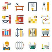 Stock Illustration of Home Repair Flat Icons Collection