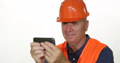 Happy Worker Person Use Cellphone Message Social Network Family Communication  Stock Footage