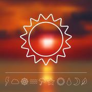 Vector weather icon set - stock illustration