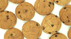 Oatmeal cookies- rotation on white background - stock footage