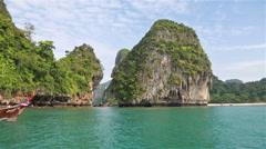Longtail boat in Krabi Stock Footage