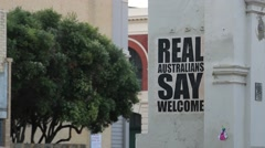 Real Australians say welcome - stock footage