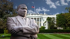 Martin Luther King By Whitehouse with Background Clouds in Time-Lapse Stock Footage