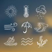 Vector hand draw weather icon set Stock Illustration