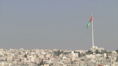 City and of Amman and Jordan flag Stock Footage
