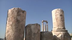 Citadel ruins in Amman city Jordan Stock Footage