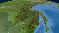 Khabarovsk - Russia,  extruded. Satellite Stock Footage